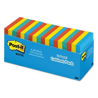 Post-it Notes Original Pads in Jaipur Colors Cabinet Pack 3 x 3 100-Sheet 18/Pack