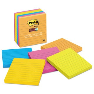 Post-it Notes Super Sticky Pads in Rio de Janeiro Colors Lined 4 x 4 90-Sheet 6/Pack