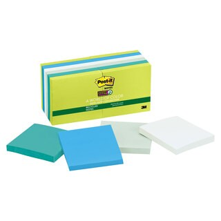 Post-it Notes Super Sticky Recycled Notes in Bora Bora Colors 3 x 3 90-Sheet 12/Pack