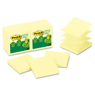 Post-it Notes Greener Original Recycled Pop-up Notes 3 x 3 Canary Yellow 100-Sheet 12/Pack