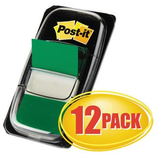 Post-it Flags Marking Page Flags in Dispensers Green 50 Flags/Dispenser 12 Dispensers/Pack