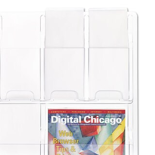 Safco Reveal Clear Literature Displays Nine Compartments 30-inch wide x 2-inch deep x 22-1/2h Clear