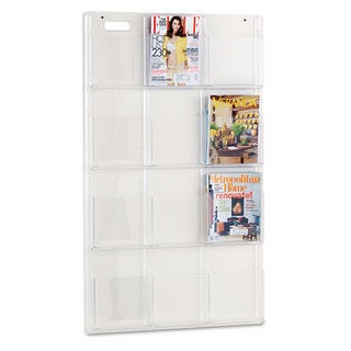 Safco Reveal Clear Literature Displays 12 Compartments 30-inch wide x 2-inch deep x 49-inch high Clear
