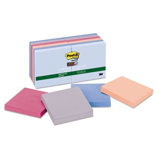 Post-it Notes Super Sticky Recycled Notes in Bali Colors 3 x 3 90-Sheet 12/Pack