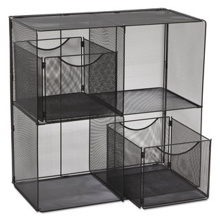 Safco Onyx Mesh Fold-Up Shelving 27 1/2-inch wide x 11-inch deep x 34 1/4h Black