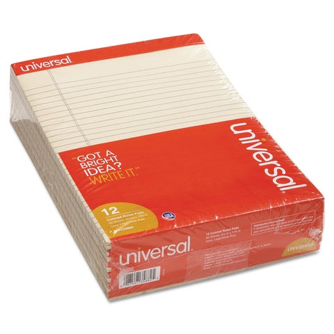 Universal Colored Perforated Note Pads 8-1/2 x 11 Ivory 50-Sheet (Box of 12)