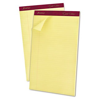 Ampad Gold Fibre Pads 8 1/2 x 14 Canary 50 Sheets (Box of 12)