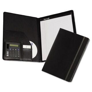 Samsill Slimline Padfolio Leather-Look/Faux Reptile Trim Writing Pad Black