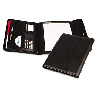 Samsill Professional Tri-Fold Padfolio with Calculator Writing Pad Vinyl Black