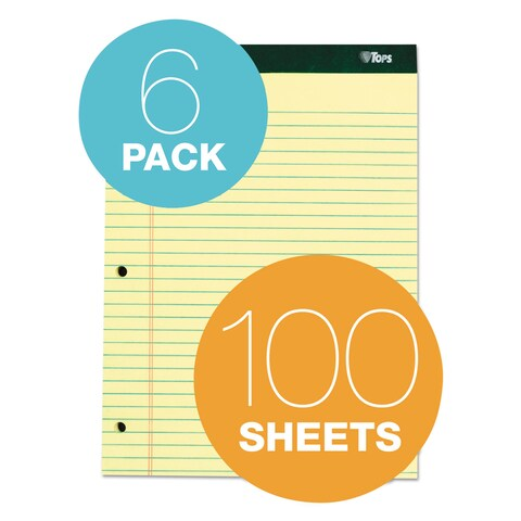 TOPS Double Docket Ruled Pads 8 1/2 x 11 3/4 Canary 100 Sheets 6 Pads/Pack