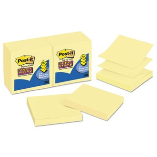 Post-it Pop-up Notes Super Sticky Pop-up 3 x 3 Note Refill Canary Yellow 90-Sheet (Box of 12)
