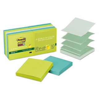 Post-it Pop-up Notes Super Sticky Pop-up Recycled Notes in Bora Bora Colors 3 x 3 90-Sheet (Box of 10)
