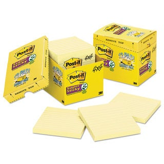 Post-it Notes Super Sticky Canary Yellow Note Pads Lined 4 x 4 90-Sheet (Box of 12)
