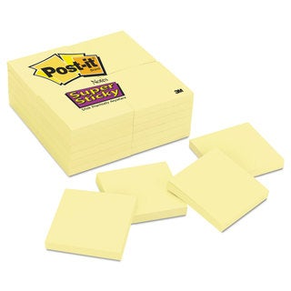 Post-it Notes Super Sticky Canary Yellow Note Pads 3 x 3 90-Sheet (Box of 24)