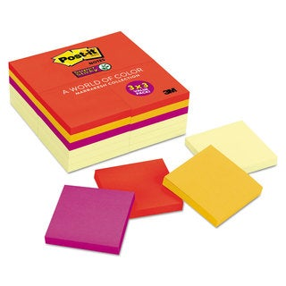 Post-it Notes Super Sticky Note Pads Office Pack 3 x 3 Canary Yellow with Marrakesh 90-Sheet (Box of 24)