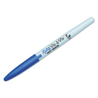 EXPO Vis-a-Vis Wet-Erase Marker Fine Point Blue (Box of 12)