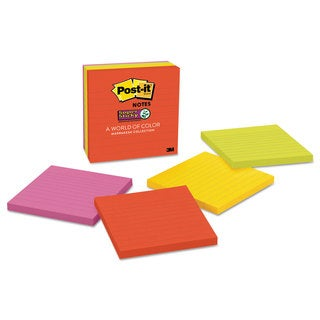 Post-it Notes Super Sticky Pads in Marrakesh Colors Lined 4 x 4 90-Sheet 6/Pack