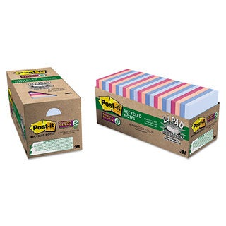 Post-it Notes Super Sticky Recycled Notes in Bali Colors 3 x 3 70-Sheet 24/Pack
