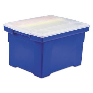 Storex Plastic File Tote Storage Box Letter/Legal Snap-On Lid Blue/Clear
