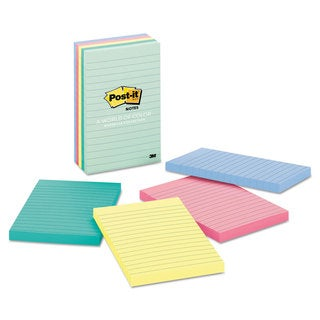 Post-it Notes Original Pads in Marseille Colors Lined 4 x 6 100-Sheet 5/Pack
