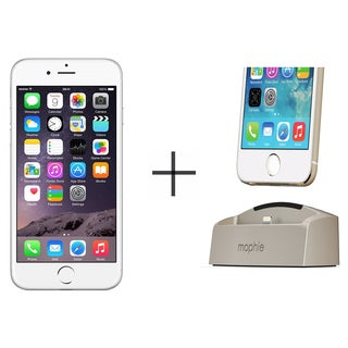 iPhone 6 16GB Unlocked GSM 4G LTE Dual-Core Phone w/ 8 Megapixel Camera - Silver + Mophie 2692 Desktop Dock for iPhone (Gold)