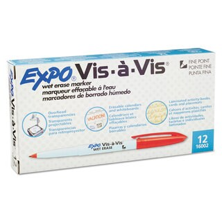 EXPO Vis--Vis Wet-Erase Marker, Fine Point, Red, Dozen