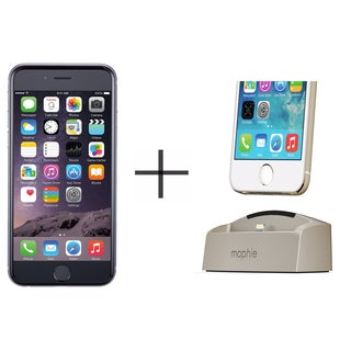iPhone 6s 16GB Unlocked GSM 4G LTE Dual-Core Phone - Gray (Certified Refurbished)+ Mophie 2692 Desktop Dock for iPhone (Gold)