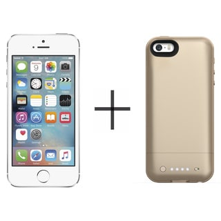 Apple iPhone 5s 16GB Unlocked GSM 4G LTE Phone - Silver (Certified Refurbished)+ Mophie Juice Pack Air for iPhone 2108 (Gold)