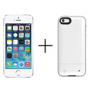 Apple iPhone 5s 16GB Unlocked GSM 4G LTE Phone - Gold (Certified Refurbished)+ Mophie Juice Pack Air for iPhone 2106 (White)