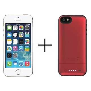 Apple iPhone 5s 16GB Unlocked GSM 4G LTE Phone - Gold (Certified Refurbished)+ Mophie Juice Pack Air for iPhone 2107 (Red)