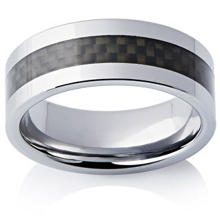 Men's Classic Tungsten and Black Carbon Fiber 8-millimeter Band