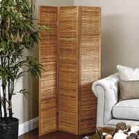 Basket Weave 3-panel Folding Bamboo Screen