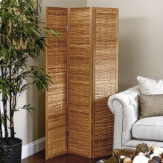 Basket Weave 3-panel Folding Bamboo Screen