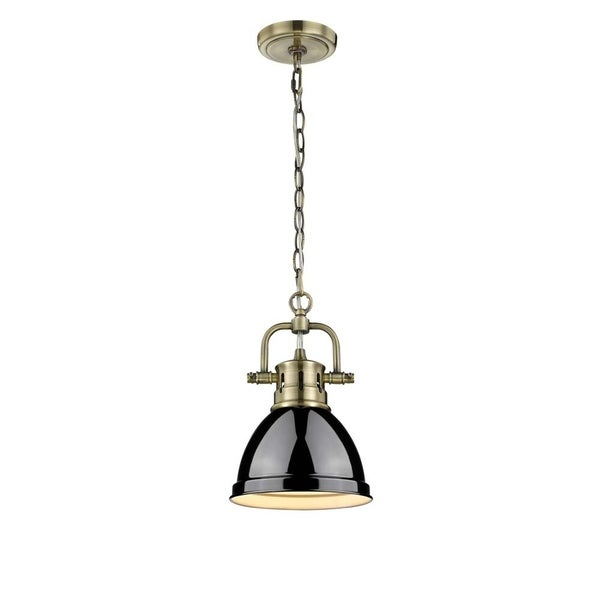 Golden Lighting Duncan Aged Brass Mini Pendant with Chain and Black Shade