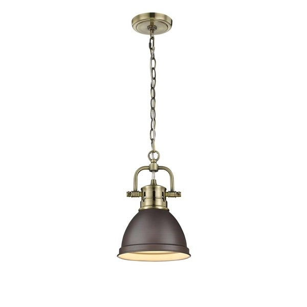 Duncan Mini Pendant with Chain in Aged Brass with a Rubbed Bronze Shade