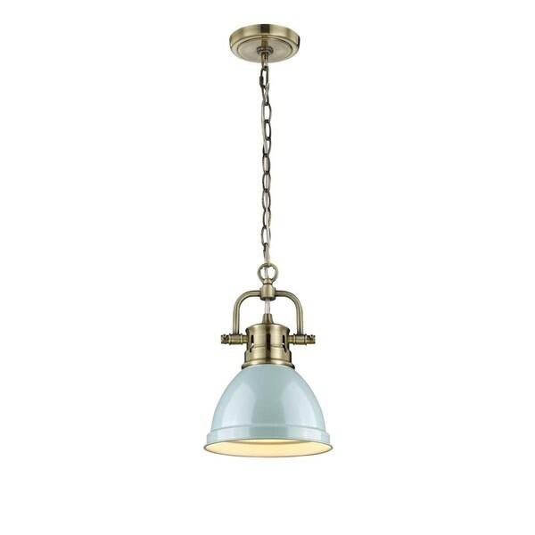 Duncan Aged Brass Chain Seafoam Shade Mini Pendant