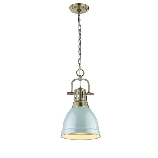 Golden Lighting Duncan Aged Brass Small Pendant With Seafoam Shade and Chain