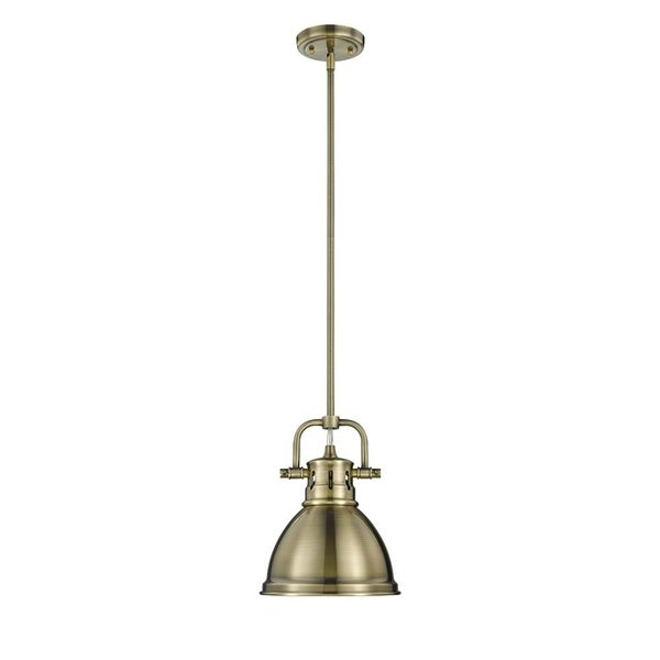 Golden Lighting Duncan Mini Pendant with Rod in Aged Brass with an Aged Brass Shade