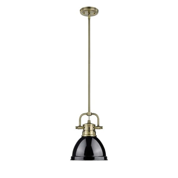 Golden Lighting Duncan Aged Brass Mini Pendant with Rod and Black Shade