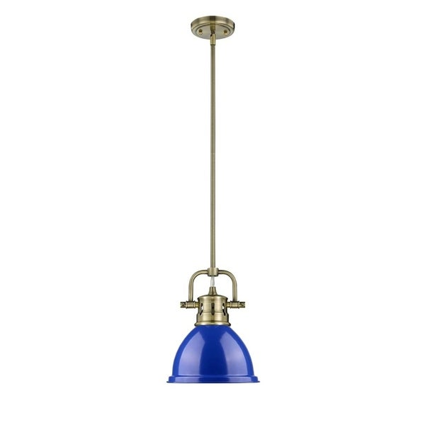 Golden Lighting Duncan Aged Brass Mini Pendant With Rod and Blue Shade