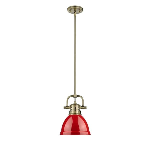 Duncan Mini Pendant with Rod in Aged Brasswith a Red Shade