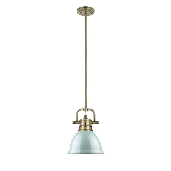 Golden Lighting Duncan Aged Brass Mini Pendant with Rod and Seafoam Shade