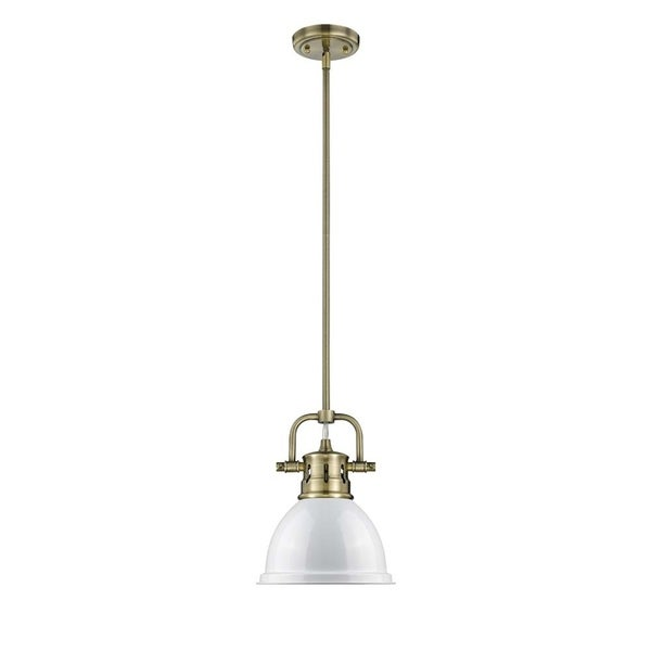 Duncan Mini Pendant with Rod in Aged Brass with a White Shade