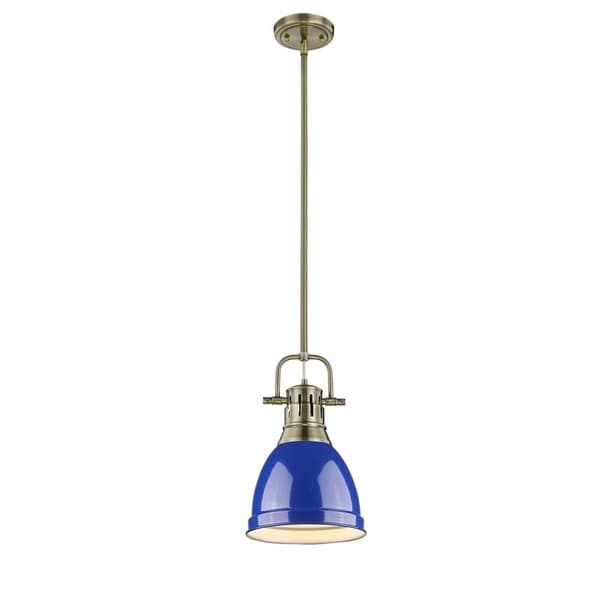 Golden Lighting Duncan Aged Brass Blue Shade Small Pendant