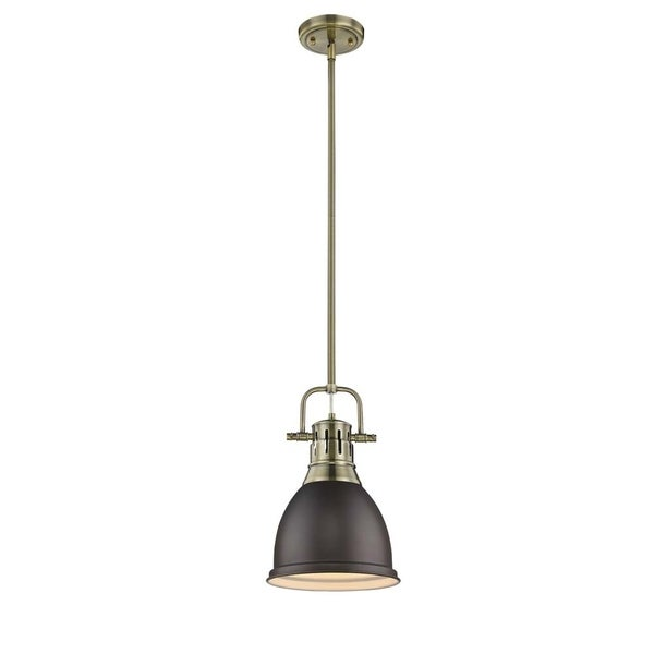 Golden Lighting Duncan Aged Brass Small Pendant with Rod and Rubbed Bronze Shade