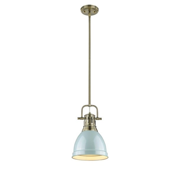 Golden Lighting Duncan Aged Brass Rod/Seafoam Shade Small Pendant