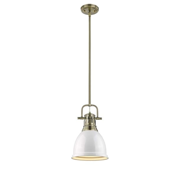 Duncan Small Pendant with Rod in Aged Brass with a White Shade