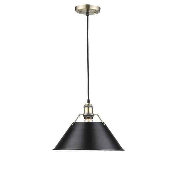 Golden Lighting Orwell Aged Brass 14-inch 1-light Pendant With Black Shade