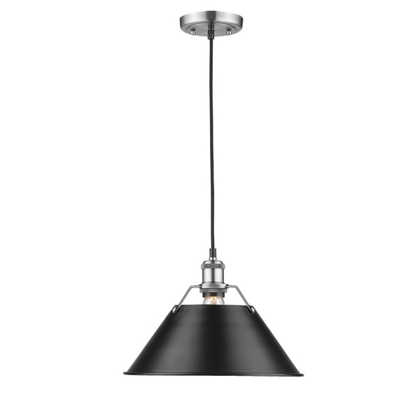 Golden Lighting Orwell Pewter 14-inch 1-light Pendant With Black Shade