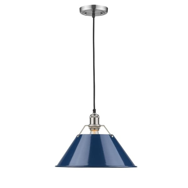 Golden Lighting Orwell PW Pewter with Navy Blue Shade 14-inch 1-light Pendant
